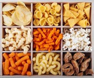 box of assorted chips, potato crisp and popcorn