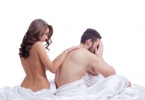woman comforting man suffering from low libido due to Cirrhosis