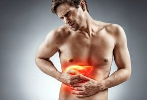 man in pain suffering from Liver Cirrhosis