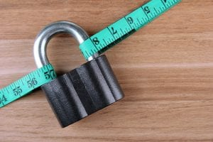 tape measure with padlock signify weight loss plateau