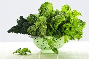 dark leafy greens in colander great with Progentra