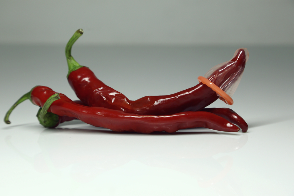 hot red pepper with condom