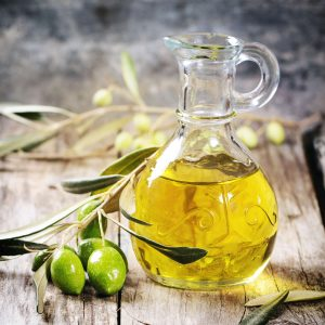 olive oil and green olives